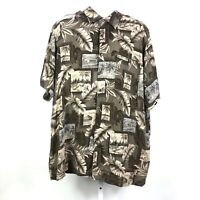 David Taylor Men's Floral Button Down Shirt XXL Brown Hawaiian Short Sleeve