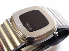 Concord LED Digital Quartz Time Month Date Silver Tone SS Red Retro 1970's