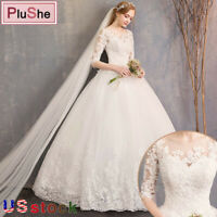Half Sleeve Wedding Dresses Lace Leaves Embroidery Ball Gown Dress US Size 8-28W