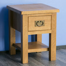 Surrey Oak Side Table / Solid Wood Lamp Table / Small Coffee Table with Drawer