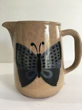 Vintage Arabia Finland Blue & Black Butterfly Pitcher/Jug Sand Tan Beige Brown