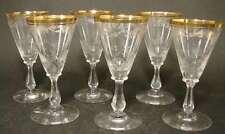 6 Süßweingläser. Jugendstil um 1900. Mundgeblasen. Geätzte Deko. Randvergoldung.