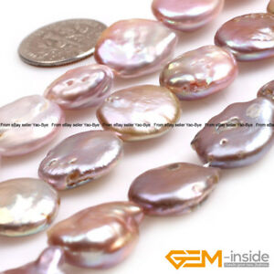 """Natural Freshwater Cultured Pearl Coin Beads For Jewelry Making Strand 15"""" YB"""