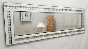Full Length ArtDeco Acrylic Crystal Glass Design Bevelled Mirror 120x40cm White
