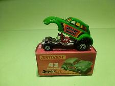 MATCHBOX 43 VW VOLKSWAGEN KAFER BEETLE - DRAGON WHEELS - GREEN 1:65? - BOXED