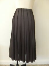 JACQUI E S SIZE 12 LONG BROWN SHEER LINED SKIRT PANELS FLOWING ELASTIC EVENT