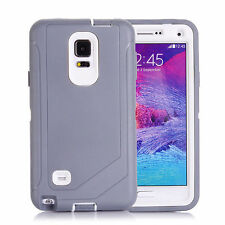 For Samsung Galaxy Note 4 Defender Outer Case Protective Cover w/Clip Grey White
