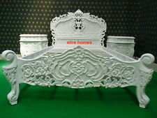 "UK STOCK 4'6"" Double size White French style designer Rococo Bed TOP QUALITY"