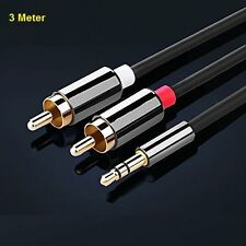 3M Meter Mini Gold Plated Male Aux 3.5mm Jack Audio Plug to twin 2X RCA Cable UK