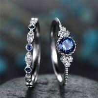 2pcs/set Women Wedding Set Rings 925 Silver Round Cut Sapphire Size 6-10