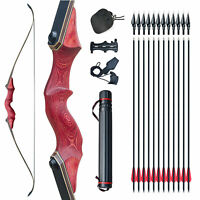 30LBS、45LBS Red Archery Recurve Bow Set Outdoor Hunting Target Sport Exercise