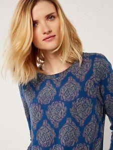 WHITE STUFF SECONDS Arti Jacquard Tunic Dress Teal Blue RRP £55 UK 8 Christmas