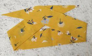 Yellow floral 50's headband self tie retro bandanna cotton hair scarf tie up