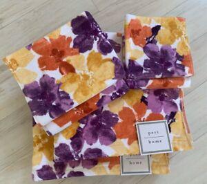 PERI 6PC Watercolor Floral Bath Towels Set 100% Cotton Purple,Yellow,Orange