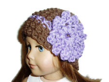 """Crochet Hat Fits American Girl Dolls 18"""" Doll Clothes Brown with Purple Flower"""