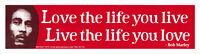 Live The Life You Love,.. - Bob Marley - Small Reggae Bumper Sticker Decal