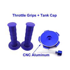 Blue Tank Cap + Throttle Handle Grips For Chinese Pit Bike 50 70 125 150 160cc