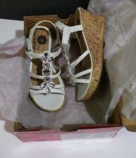 NIB Total Girl Spring MACY Wedge Sandle White Silver & Rhinestones Jewels sz 13