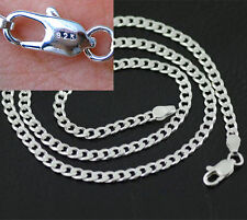 "22"" 925 Sterling Silver Plated 4MM Chain Fashion Men  Flat Necklace Pendants HOT"