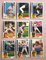 Lot of 9 1984 Topps  Los Angeles Dodgers Cards  all MINT,     TOMMY LASORDA