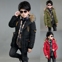 Kids Boys Winter Trench Coat Puffer Down Jacket Parka Outerwear Hooded Warm Coat