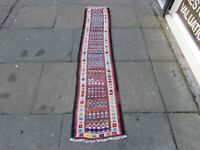 Vintage Traditional Hand Made Oriental Wool Brown Kilim Short Runner 190x42cm