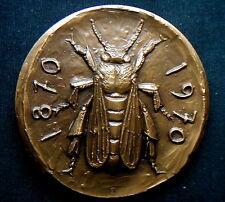1970 ITALY rare Large Bronze MEDAL BANK CREDITO ITALIANO BEE signed Manfrini