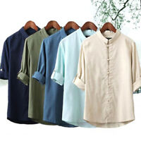 Men's Classic Chinese Style Kung Fu Shirt Tops Tang Suit 3/4 Sleeve linen Blouse