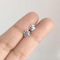 925 Sterling Silver Cute Pet Puppy Dog Cat Paw Print Ear Stud Earrings Jewelry