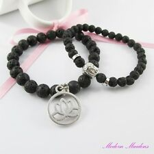2pce Stretch Natural Lava Bead Buddha & Lotus Flower Charm Bracelet Set