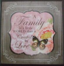 Shabby Chic Mini Wooden Plaque-A Family is .....Pink