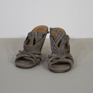 Chie Mihara Mauve Grey Suede Strappy Heels Size 36.5 (fit 37)