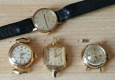Job Lot Of Ladies Vintage Omega Wrist Watches 9ct Gold Working / 9ct Gold Buckle