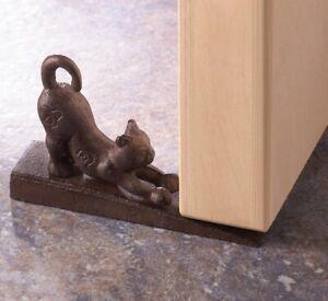 Cast Iron Stretching Cat Door Stop Stopper Statue Decorative Rustic Doorstop