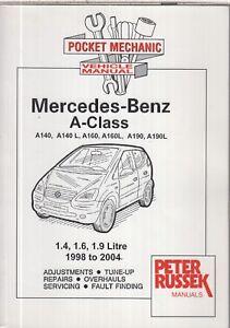 MERCEDES BENZ A CLASS A140 A140L A160 A160L A190 A190L 1998-2004 REPAIR HANDBOOK