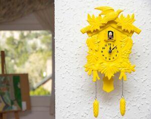 Walplus Cuckoo Clock in Yellow with Clock Mechanism Decor Living Room Restaurant