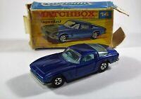 MATCHBOX SUPERFAST 1-75 No 14 ISO GRIFO VIRT In Original BOX Blue Diecast Car