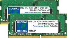 8GB (2 x 4GB) DDR4 2400MHz PC4-19200 260-PIN SoDIMM Memoria RAM Kit per computer portatili