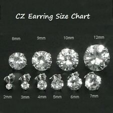 .925 Sterling Silver Earrings CZ Stud 2mm Round cut Clear White Ladies Kids New