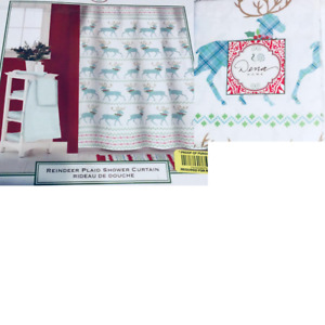 Christmas Fabric Shower Curtain Reindeer Plaid Dena Home Holiday