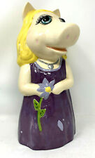 Ceramic Miss Piggy Purple Dress Holding Flower 14 Inches Tall