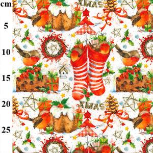 Christmas stockings robins pudding pine cones cake trees ribbon Cotton Fabric