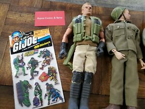 "21st Century Soldier GI Joe type 12"" lot of 7 Figures + Vintage GI Joe Stickers"