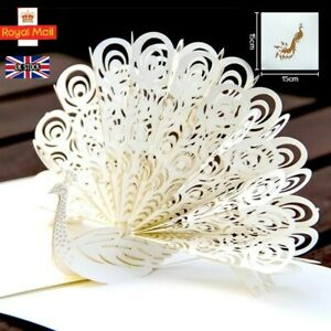3D Pop up White Peacock Greeting Card Birthday, Anniversary, Wedding, Thank you.