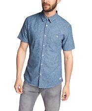 EDC homme rayé à manches courtes Chemise décontractée taille XS neuf avec étiquettes