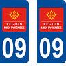 Département 09 sticker 2 autocollants style immatriculation AUTO PLAQUE