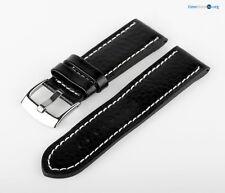 Uhren Lederarmband Uhrenband Leder Schwarz Weiß XXL MX20 Genarbt Armband