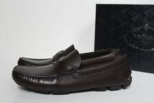 sz 11.5 US / 10.5 UK Prada Slip on Brown Leather Driving Loafer MEN Dress Shoes