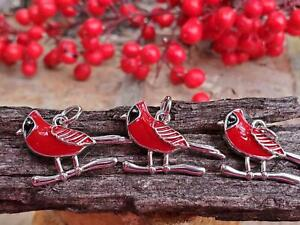 Very Nice Enamel Painted Red Cardinal Bird Charms Embellishments DIY Crafts NEW