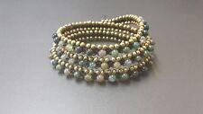 India Agate  Triple Wrap Brass  Bracelet